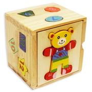 Деревянная игрушка Куб-сортер с вкладышами Мишка 46391