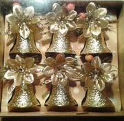 Новогодние елочные игрушки колокольчики золотые 46422