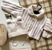 Шапочка и кофта вязанные  для новорожденного